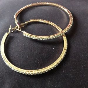 Gold hoops with jewels